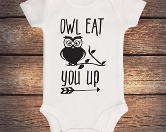 Owl Eat You Up Onesie - Baby Boy Clothes - Baby Girl Clothes - Boho Onesie - Baby Shower Gift - Hospital Outfit - Owl Onesie - Birthday gift