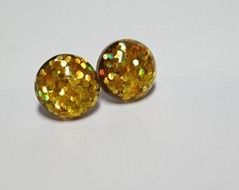 Yellow Glitter Studs, Glitter Stud Earrings, Glitter Studs, Yellow Studs, Sparkly Studs, Glitter Jewelry, Yellow Earrings, Yellow Glitter