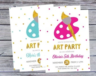 Art Birthday Party Invitations, Art Birthday Invitation, Art Birthday Invitations, Art Birthday Invitation, Painting Party, Paint Invitation