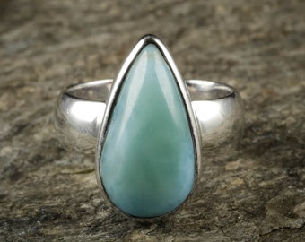 Size 7 LARIMAR Ring - Sterling Silver Ring, Larimar Stone, Handmade Jewelry, Natural Stone Cabochon, Larimar Cabochon, Larimar Jewelry J1036