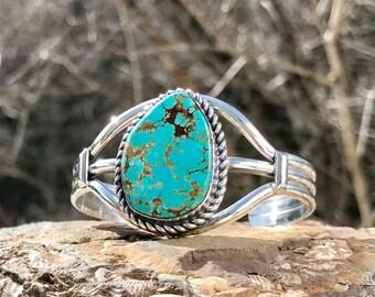 Chunky Silver Turquoise Cuff Bracelet - Vintage Sterling Turquoise Cuff Bracelet - Small Wrist Cuff - Boho - Large Stone WhistlingGypsyVTG