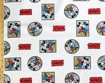Minnie and Mickey black and white Adventures on Newspaper Cotton Woven Fabric, Disney Classic Cartoon Fabric, Fat Quarter