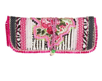 Pretty In Pink Floral and Beaded Jewelry Roll