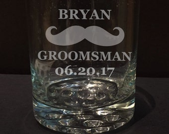 One Single 8 oz (1) Etched Whiskey Glass, with Marble Inspired Base, Custom, Groomsman gifts, Grooms, Wedding, Best Man Gifts, Father of the