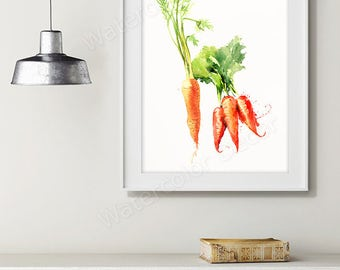 Carrot Watercolor Art Print - Vegetable Watercolor - Kitchen Wall Decor - Kitchen Art Print Housewarming Gift