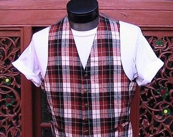 BROWN/BLACK Plaid Vest WOOL 42