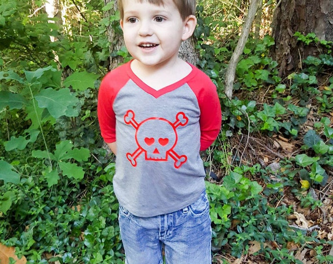 Featured listing image: Skull Head with Hearts Infant Baby V-Neck Baseball Raglan T-shirt in 5 Colors in Sizes 6 Months-24 Months
