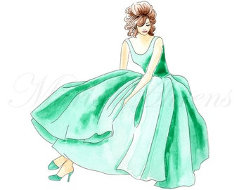 Retro Style 1950s Green Dress Giclee Print, Fashion Illustration, Watercolor Print, Art Print, 8x10 Decor