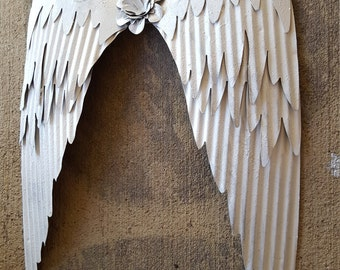 Shabby Chic White Metal Angel Wings Wall Decor/ Rustic Angel Wings/ Metal Wall Art/ Religious Decor/ Guardian Angel/ Metal Wings
