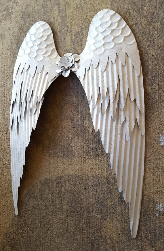 Rustic Angel Wings Wall Decor : Shabby chic white metal angel wings wall decor rustic