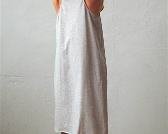 Light Gray Organic Cotton Nightdress, Sleeveless Cotton Nightdress, Loungewear, Organic Cotton Nightgown, Organic Clothing, Organic Pajamas,