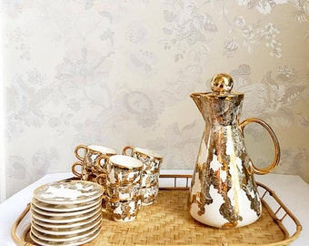 Gold Espresso Set with tea or espesso cups, saucers and coffee or tea carafe circa 1940s