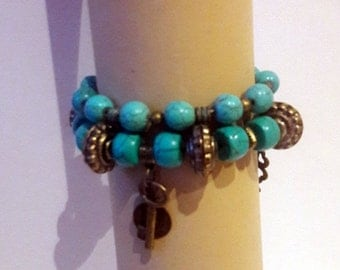 Turquoise beaded stretch bracelets with copper Buddha double Yoga bracelet, Boho Stretch bracelet set