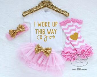 """Baby Girls Clothes, """"I Woke Up This Way"""" New Baby Gift Baby Shower, baby bodysuit, baby girl gift, glitter shirt, new baby shower gift P32"""