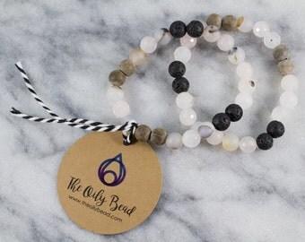 Diffuser Bracelet | Essential oil bracelet. Flower agate. Rose quartz. Graywood. Lava. Wood diffuser. Lava stones. Gemstone diffuser.
