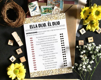 She said he said in spanish, bridal shower games in spanish, shower games spanish, wedding shower spanish, printables games, shower prints