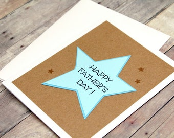 Handmade Father's Day Card - Hand Stamped Happy Fathers Day Card - Hand Made Embossed Kraft & Blue Card for Dad - Card for Dad with Stars