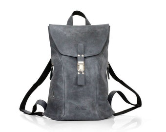 Gray Leather Backpack for Women |  Leather Backpack Laptop 15"