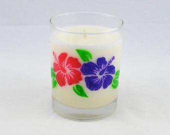 Beach Vibes, Hibiscus, Beach Decor, Scented Candle, Soy Candles Handmade, Tropical Decor, Hand Painted, Island Decor, Hand Poured Candles,
