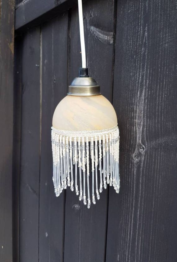Beaded fringe lamp glass lamp shade pendant light ceiling like this item mozeypictures Image collections