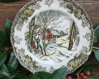 1950's Christmas Decorations/Dishes! -Friendly Village China, Vintage Plate- Johnson Bros- Sugar Maples.