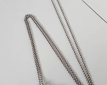 Genuine Antique Victorian Edwardian 1900 Sterling Silver Puff Heart Pendant with Chain. Etched Front. Excellent Condition
