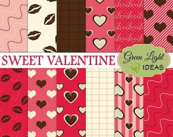 Valentines Scrapbook Paper, Valentine Backgrounds, Valentines Digital Paper, Commercial Use, Chocolate Digital Texture, Hearts Paper Pack
