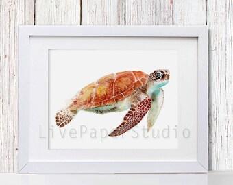 Sea Turtle Art, Sea Turtle Watercolor Painting, Beach Home Decor Nautical Art Ocean Décor, Ocean Art Sea Art Print, Ocean Animals