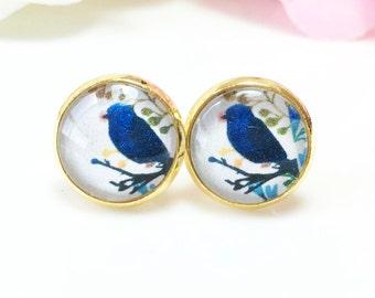 Bird Earrings, Blue Bird Earrings, Bird Studs,Gold Bird Earrings, Glass Dome Bird Jewelry,Nature Jewelry,Gift for her Bird lover