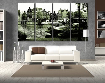 Large Wall BW Cityscape Canvas Color Multipanel Canvas Amsterdam Cityscape View  Art Large  1-3-4-5 Panel Netherlands Print