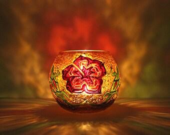 Hawaiian Glass Candle Holder / Hibiscus Candleholder / Votive Candle Holder / Tealight Candle Holder / Floral / Yoga Decor / Wedding Decor