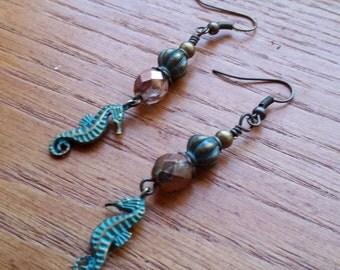 Patina Finish Seahorse Earrings.