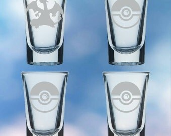 Set of 4 shot glasses inspired by anime and video games - permanently etched Charizard - Gift set