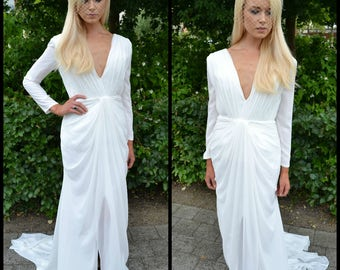 Plunging Wedding Dress / Simple Wedding Dress / Classic bridal gown / Backless bridal gown / Long sleeve wedding dress / chiffon / 'Helena