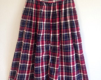 Vintage plaid flannel long full high-waist skirt xs small