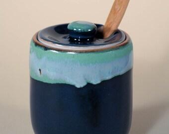 Ceramic Honey Pot, Porcelain Clay, Blue