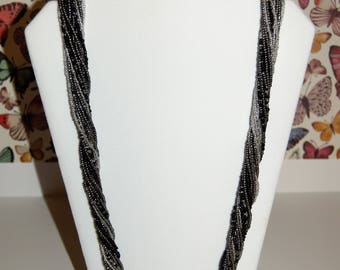Pewter Silver Black Seed Bead Necklace - Torsade - Twist