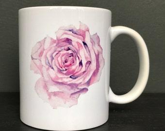 China Mug with a Watercolour Image of a Single Rose