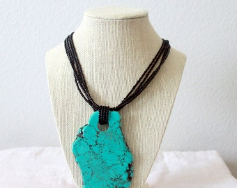 Seed bead necklace with turquoise pendant