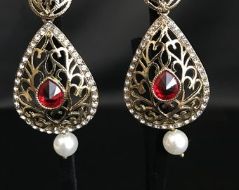Indian Jewelry - Indian Earrings - Bollywood Jewelry - Kundan Jewelry - Indian Bridal - Pakistani Jewelry - Red Antique Gold Earrings -