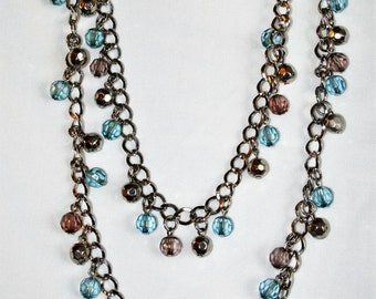 2-Strand silver necklace with blue and plum accent beads N101