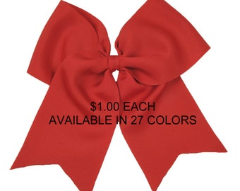 Basic Cheer Bows - 1 DOLLAR each - 27 COLORS to Choose From- cheerleading bows  - solid cheer bow - cheerleader - cheer hair bow