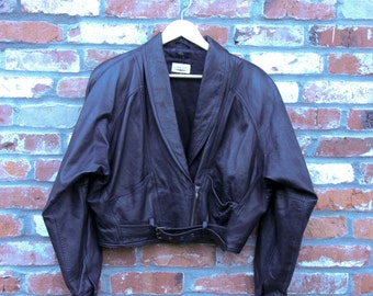 ON SALE Vintage Cropped Leather Jacket