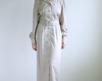 Beige Strong Shoulder Trench Dress