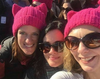 """Woman's March, pink """"pussycat"""" hat"""