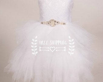 White Ivory Lace Flowergirl Tutu dress Baby dress birthday party with Gorgeous back tie up design avail in other colours
