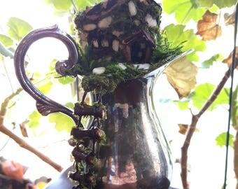 Fairy House in a Vintage Silverware, Fairy Garden House, Fairy Cabin,Fairy Door, Fairy Window, Faerie House, Pixie Home,Mouse House, Gnome