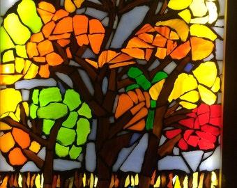 Mosaic 'Autumn Trees on Lake' Light Box