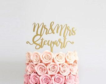 Gold Cake Topper Wedding Mr and Mrs Cake Topper Rustic Wedding Silver Wedding Cake Topper Anniversary Surname Cake Topper for Wedding