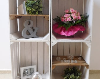 """4 PCs. combined white fruit crates / wooden boxes """"Shabby Chic"""""""
